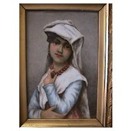 Charles Field Haviland Limoges Porcelain Plaque - Girl Portrait