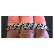Lady's 18K Yellow Gold, Diamond & Sapphire Bangle Bracelet