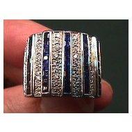 Lady's Platinum VS Diamond & Sapphire Ring