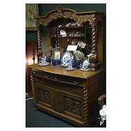 Victorian Heavily Carved Oak Sideboard - Excellent