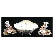Carl Thieme Dresden Set -Console Bowl and Pair of Candle Holders