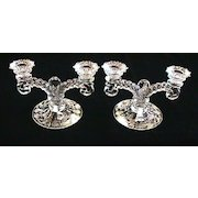 Pair of Cambridge Rose Point Martha/465 Two Light Candlesticks