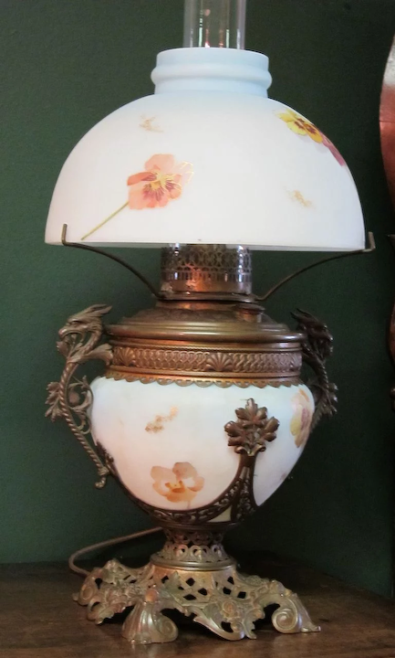 Oil Lamp Convert To Electric Crossroads Antiques Estate Jewelry Ruby Lane