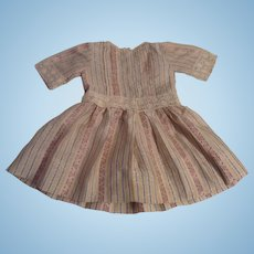 "Vintage 11"" Silk Blend Doll Dress with Lace Trim"