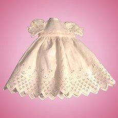 Vintage White Cotton Eyelet Doll Dress