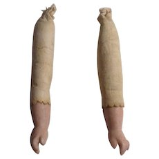 """Pair Of 2-1/2"""" Bisque Doll Arms With Kid Upper Arms"""