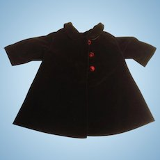 "Very Nice 9-1/2"" Brown Velvet Doll Coat"