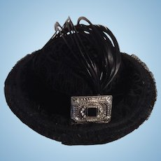 Vintage Stunning Black Velvet Doll Hat With Feathers