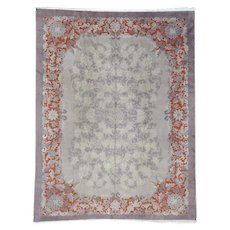 Antique Chinese Art Deco Some Wear Hand-Knotted Oriental Rug