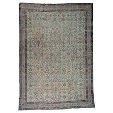 Handmade Antique Persian Mahal Some Wear Oversize Rug