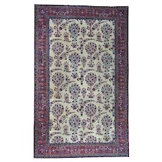 Handmade Gallery Size Antique Persian Kerman Even Wear Rug