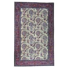 Handmade Gallery Size Antique Persian Kerman Even Wear Rug