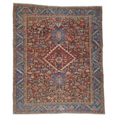 Antique Persian Heriz Exc Cond Pure Wool Hand-Knotted Rug