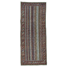 Antique Northwest Persian With Shawl Design Wide Runner Rug