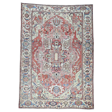 Hand-Knotted Antique Persian Serapi Good Cond Oriental Rug