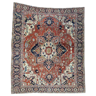 Hand-Knotted Antique Persian Serapi Squarish Good Cond Rug