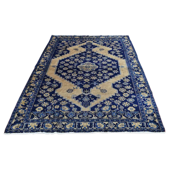 Good Condition Antique Persian Malayer Dense Weave Hand-Knotted Rug