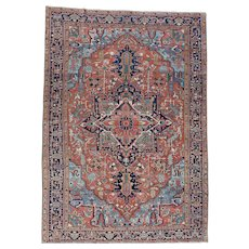 Antique Persian Heriz Good Cond Hand-Knotted Oversize Rug