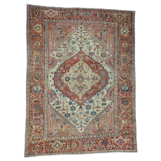 """9'7""""x12'4"""" Excellent Condition Antique Persian Serapi Hand-Knotted Rug"""