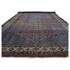 Antique Persian Bibikabad Hand-Knotted Gallery Size Rug