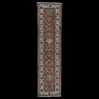 Antique Caucasian Kazak Mint Condition Oriental Runner Rug