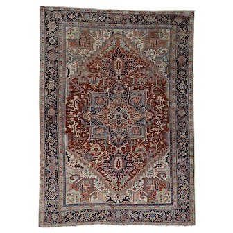 Antique Persian Heriz Full Pile Mint Condition Oriental Rug