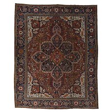 Hand-Knotted Antique Persian Heriz Exc Cond Pure Wool Rug