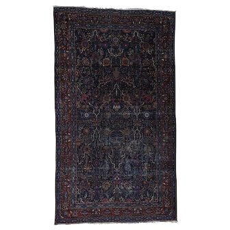 Oversize Antique Persian Tabriz Multicolored Some Wear Rug
