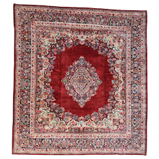 Hand-Knotted Squarish Antique Persian Sarouk Oriental Rug