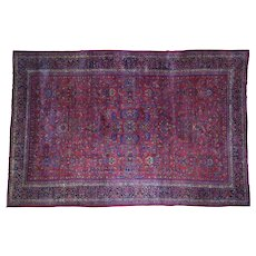 1920s Antique Persian Sarouk Pure Wool Hand-Knotted Rug- 10′6″ × 16′