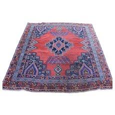 1910s Antique Persian Afshar Worn Wool Handmade Oriental Rug- 5′1″ × 6′1″