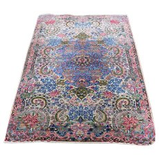 1920s Multicolored Antique Persian Kerman Full Pile Hand-Knotted Oriental Rug- 3′ × 4′10″