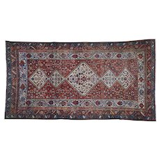 1910s Gallery Size Antique Persian Bakhtiari Full Pile Pure Wool Hand-Knotted Oriental Rug-5′10″ × 12′8″