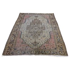 """4'5""""x6'6"""" Tan Antique Persian Sarouk Fereghan Even Wear Hand-Knotted Oriental Rug"""