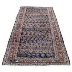 1900s Antique Persian Kurdish Pure Wool Handmade Oriental Rug- 3′5″ × 7′