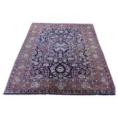 """4'7""""x6'10"""" Navy Blue Antique Persian Tabriz Pure Wool Some Wear Hand-Knotted Oriental Rug"""
