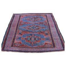 1900s Antique Caucasian Seychur Handmade Oriental Rug- 4′3″ × 5′1″