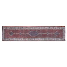 1920s Antique Persian Pure Wool Hand-Knotted Oriental Runner- 3′2″ × 13′4″