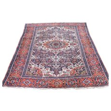 1910s Antique Persian Malayer Orange Wool Handmade Oriental Rug- 4′2″ × 5′10″