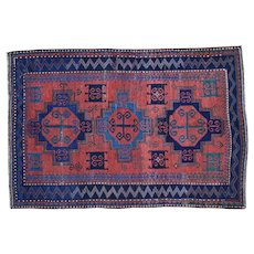1900s Red Antique Caucasian Some Wear Pure Wool Hand-Knotted Oriental Rug 5′1″ × 7′8″