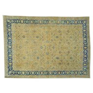 "10'6""x14'9"" Hand Knotted Gold Antique Persian Tabriz Exc Cond Rug"