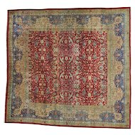 10'x10' Antique Agra Exc Cond Square Hand Knotted Rug