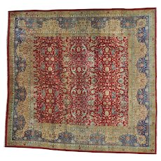 Antique Agra Exc Cond Square Hand Knotted Rug Sh25974