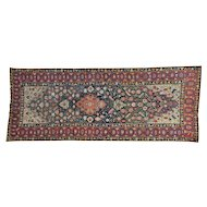 "4'8""x12' Gallery Size Antique Persian Kurdish Bijar Hand Knotted Rug"