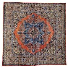 Rust Red Antique Persian Sarouk Full Pile Square Oriental Rug Sh26628