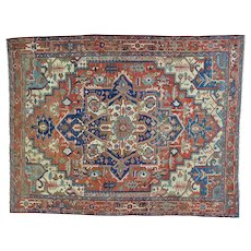 Antique Persian Serapi Good Cond Hand Knotted Oriental Rug Sh27105