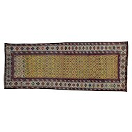 Antique Caucasian Dagestan Vegetable Dyes Wide Runner Rug Sh28230