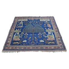 Antique Pictorial Persian Afshar Hand Knotted Square Rug Sh28233