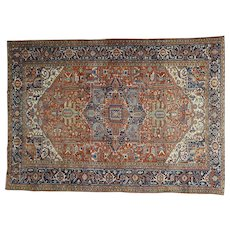 Hand-Knotted Antique Persian Heriz Good Cond Oversize Rug Sh30923