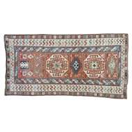 Antique Caucasian Kazak Mint Cond Wide Runner Pure Wool Rug Sh32024